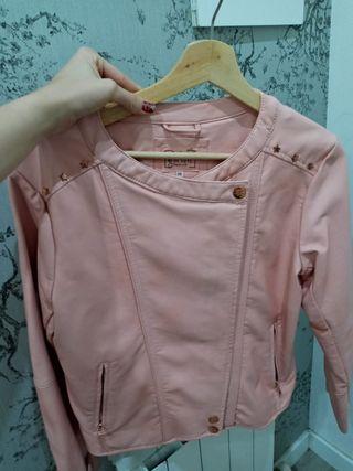 Cazadora polipiel rosa T13-14