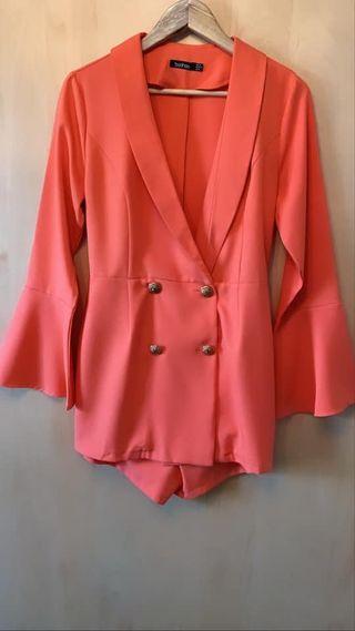 Orange blazer & shorts style play suit