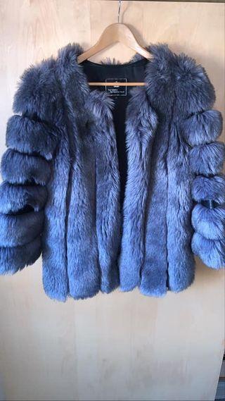 Dark grey faux fur coat