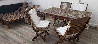 conjunto de muebles de teca exterior