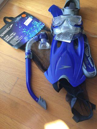 Set Snorkel Speedo Tubo Aletas y máscara