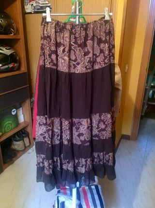falda midi marron combinado