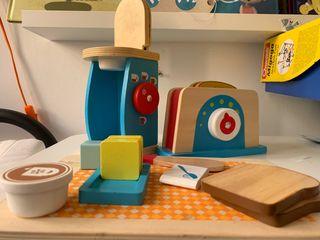 Accesorios cocina juguete, cafetera, tostador