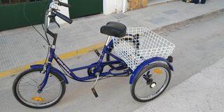 Bicicleta triciclo adulto con 6 cambios y cesta