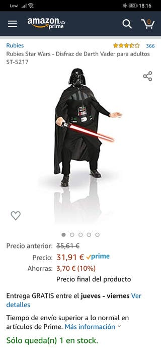 Disfraz de Dark Vader para adulto.
