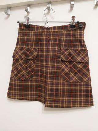 falda cuadros verano c&a