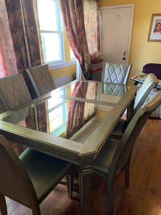 Gold brushed collapsible wooden dining table 6 cha