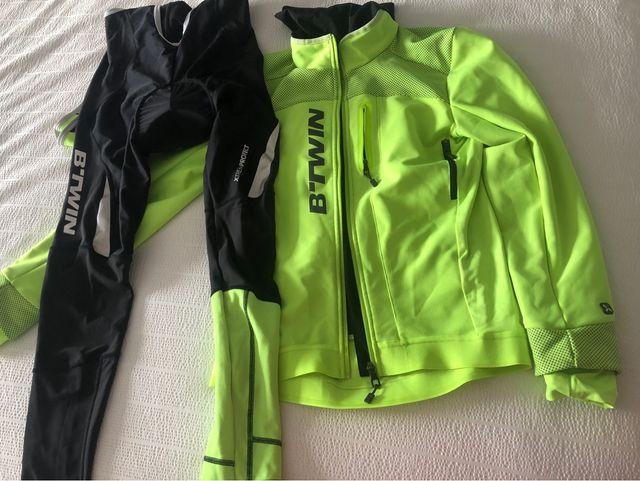 Culotte y chaqueta de ciclismo