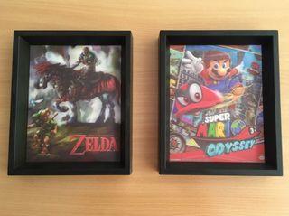 Cuadros 3d Super Mario y Zelda