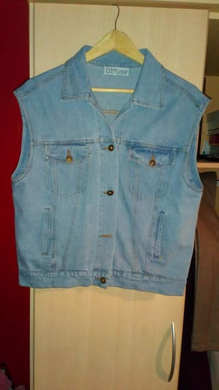 sleeveless denim jacket size 14