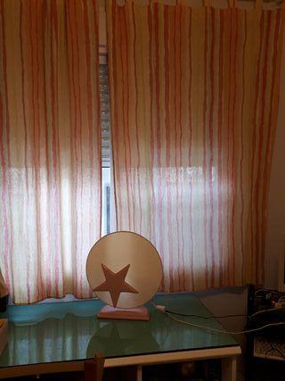 juego de 2 cortinas y lámpara