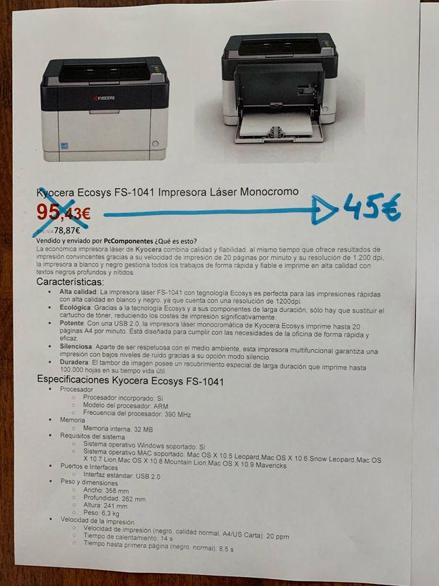 Impresora monocromo KYOCERA nueva de sorteo
