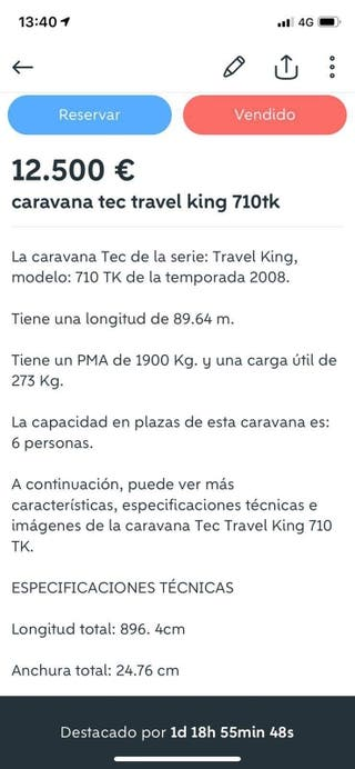 caravana tec travel king 710 tk