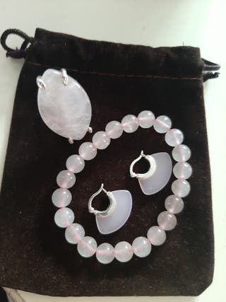 juego de plata y piedra de cuarzo rosado