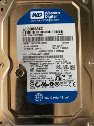 Disco Duro 3,5 WD Caviar Blue 500Gb