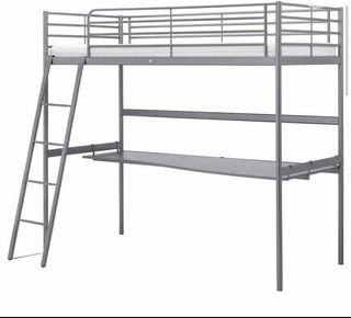 Cama juvenil elevada 90 cm escritorio