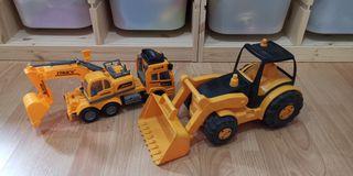 2 juguetes, grúa excavadoras
