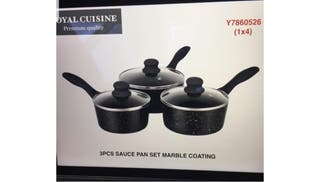 Royal Cuisine Marble Coated 3pcs Pan Set