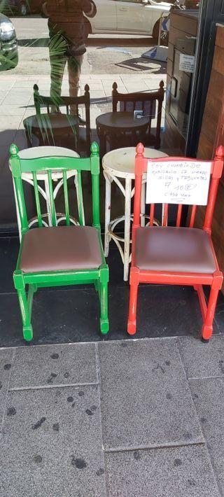 sillas y taburetes en perfecto estado