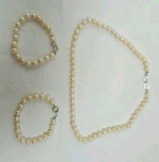 collar y pulseras perlas cultivadas auténticas