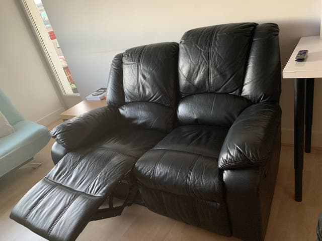 Two seats recliner sofas + mudtard sofa covers