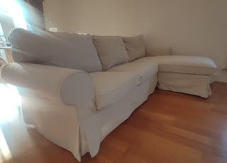 3 seat sofa EKTORP with chaise longue beige