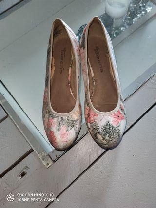 chaussures compensées fleuris
