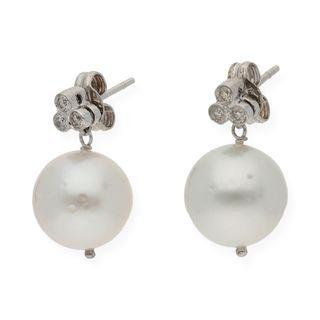 Pendientes Oro de Ley con Perlas y Diamantes