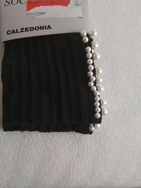 calcetines canale con perlas blancas