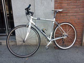 Bici híbrida plateada