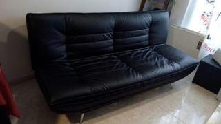 Sofá cama abatible negro polipiel