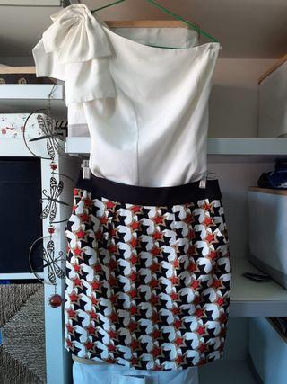 Conjunto top y falda estampada estrellas_Minueto