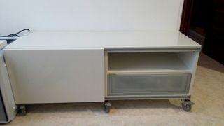 Mesa TV superficie cristal cajón puerta corredera
