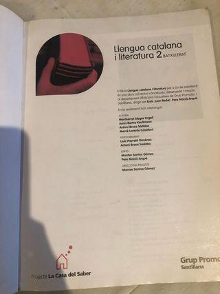 Libro Llengua catalana i literatura 2 batxillerat