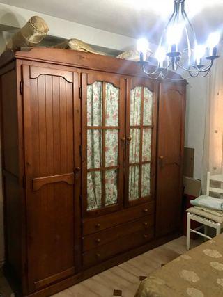 Armario dormitorio Rústico-Colonial 4 p y cajonera