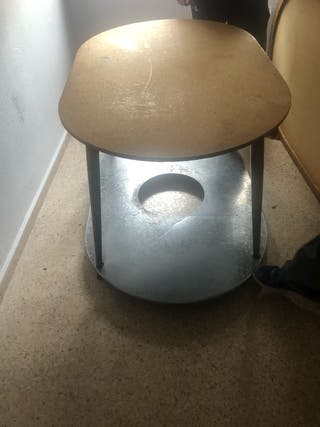 mesa camilla con cristal y tarima de hierro
