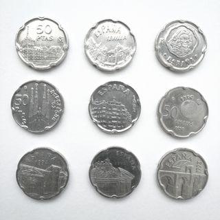 9 monedas de 50 pesetas (1992-1997)