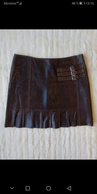 Falda cuero piel auténtica marron