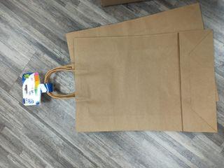 Bolsas con Asa Rizada, Papel, Marrón, 45x32x10cm,