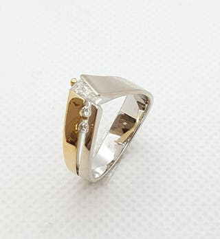 Anillo de oro bicolor y brillantes