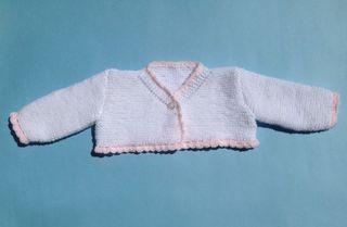Chaqueta lana blanca y rosa bebe 6-9 meses. Nueva