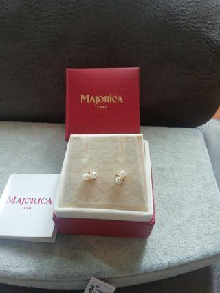 pendiente dos perlitas de majorica