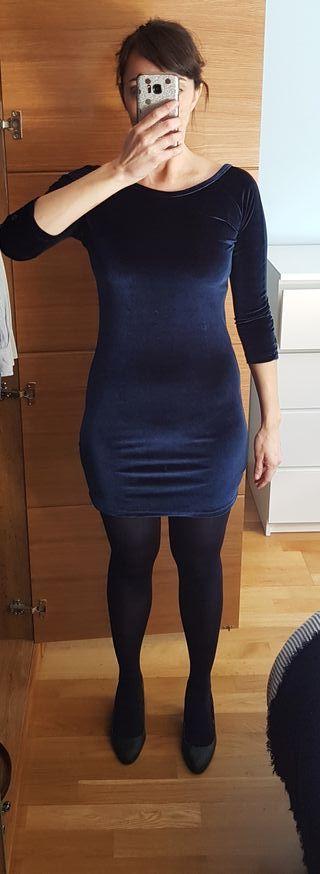 Vestido azul de terciopelo de Kling y talla S
