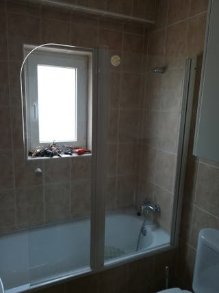 mampara de baño doble hoja