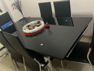 Conjunto de mesa extensible de comedor + 6 sillas