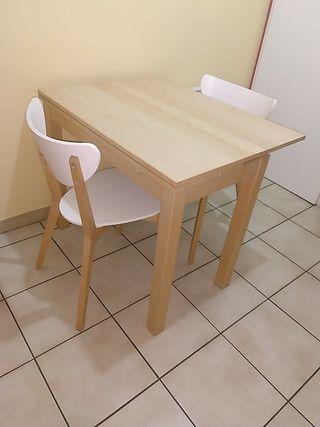 Table à rabat, 74/104x74 cm