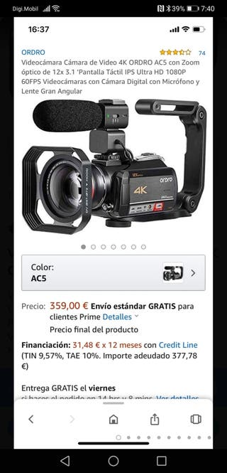 Videocámara Cámara de Video 4K ORDRO AC5 Nuevo