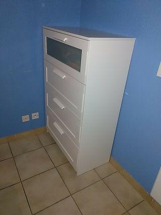 Commode 4 tiroirs, blanc, verre givré, 78x124 cm