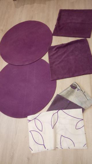 alfombra redonda moradas