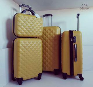 Juego de maletas y neceser Mostaza
